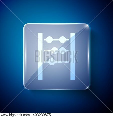 White Abacus Icon Isolated On Blue Background. Traditional Counting Frame. Education Sign. Mathemati