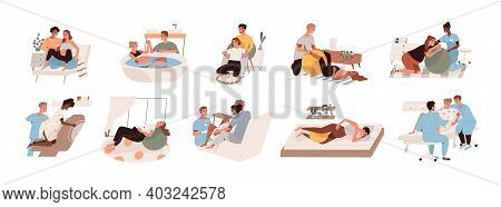 Pregnant Women Preparing For Childbirth At Hospital With Obstetricians And At Home With Partner Or D