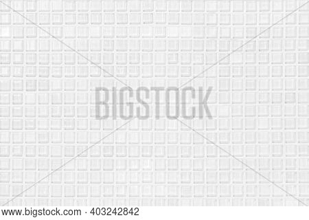 White Or Gray Ceramic Wall And Floor Tiles Abstract Background. Design Geometric Mosaic Texture Deco