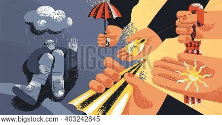 Upset Man Suffering From Depression, Refusing From Helping Hands And Support Offered By People. Conc