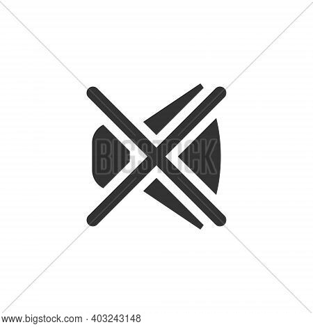 The Icon Sign Of The Sound Of The Crossed-out Cross. Silent Mode, Turn Off The Sound