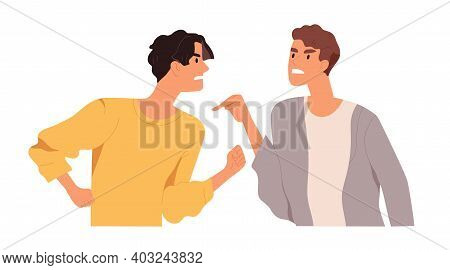 Angry Men Arguing And Conflicting. Quarrel And Fight Between Two Aggressive People. Male Characters
