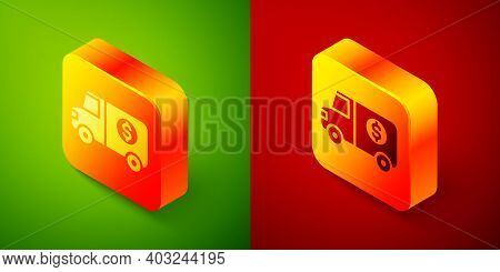 Isometric Armored Truck Icon Isolated On Green And Red Background. Square Button. Vector