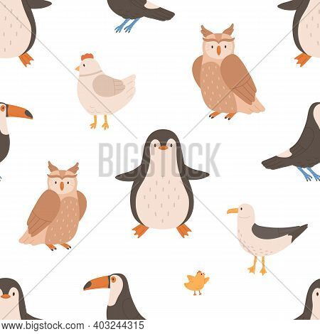 Seamless Pattern With Wild And Domestic Birds For Printing. Endless Repeatable Backdrop With Owl, Pe