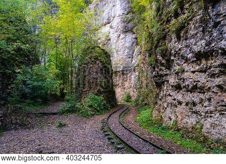 Old Narrow Gauge Railway In Mountain Region.