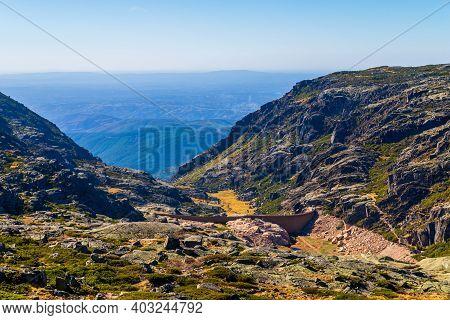The Dam In The Mountains, Lake And The Road. Portugal , Serra Da Estrela