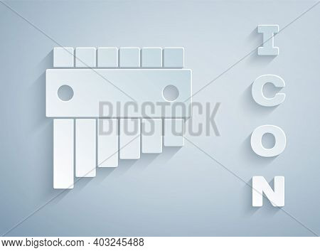 Paper Cut Pan Flute Icon Isolated On Grey Background. Traditional Peruvian Musical Instrument. Folk