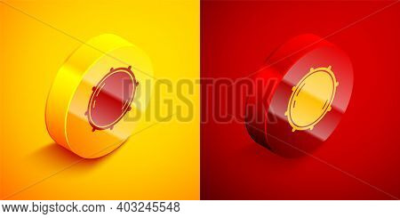 Isometric Dial Knob Level Technology Settings Icon Isolated On Orange And Red Background. Volume But