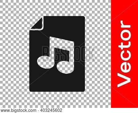 Black Music Book With Note Icon Isolated On Transparent Background. Music Sheet With Note Stave. Not