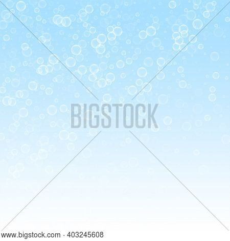 Soap Bubbles Abstract Background. Blowing Bubbles On Winter Sky Background. Bold Soapy Foam Overlay
