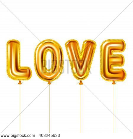 Love Gold Helium Metallic Glossy Balloons Realistic Text. Background Design Happy Valentines Day, Pa
