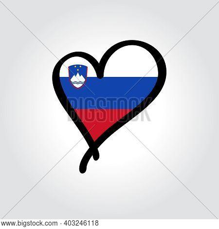 Slovenian Flag Heart-shaped Hand Drawn Logo. Vector Illustration.
