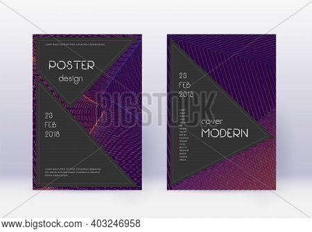 Black Cover Design Template Set. Violet Abstract Lines On Dark Background. Alive Cover Design. Nice