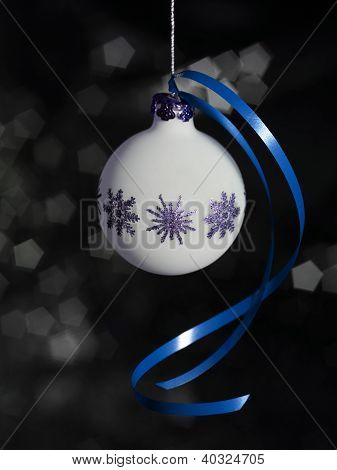 Christmas Bauble With Blue Bow
