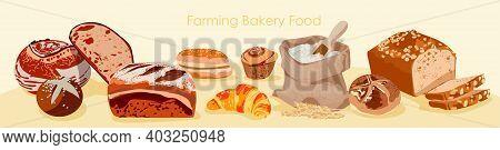Fresh Bread Assortment. Fresh Nutritious Bread Products, Rye Rustic Bread, Loaf, Fruitcake, Bagel, F