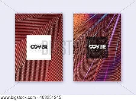 Hipster Cover Design Template Set. Orange Abstract Lines On Wine Red Background. Cool Cover Design.