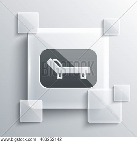Grey Sunbed Icon Isolated On Grey Background. Sun Lounger. Square Glass Panels. Vector