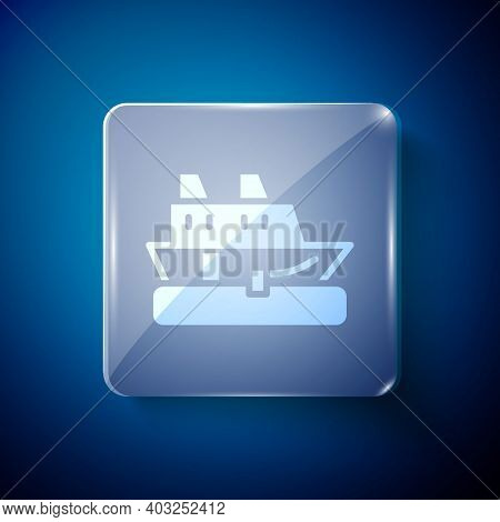 White Cruise Ship Icon Isolated On Blue Background. Travel Tourism Nautical Transport. Voyage Passen