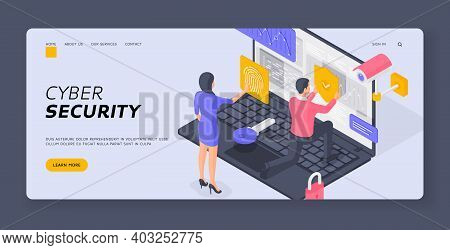 Isometric Man And Woman Submitting Fingerprint Scan Man Putting Protection Shield On Data Of Laptop