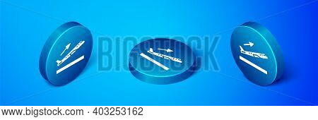 Isometric Plane Takeoff Icon Isolated On Blue Background. Airplane Transport Symbol. Blue Circle But