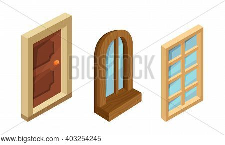 Isometric Door And Windows As Building And House Facade Elements Vector Set