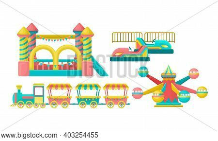 Amusement Or Entertainment Park With Attractions Like Merry-go-round And Bouncy Castle Vector Set