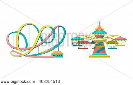 Amusement Or Entertainment Park With Attractions Like Merry-go-round And Roller Coaster Vector Set