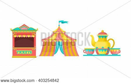Circus Tent, Ticket Stand And Merry-go-round With Cups As Amusement Or Entertainment Park Attraction