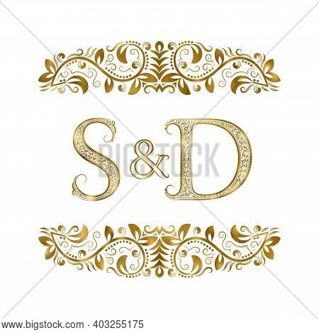 S And D Vintage Initials Logo Symbol. The Letters Are Surrounded By Ornamental Elements. Wedding Or