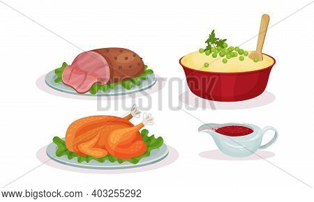 Whole Roasted Chicken And Mashed Potato Served On Plate As Traditional Christmas Eve Dinner Vector S