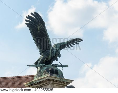 Budapest, Hungary- May, 26, 2019: Bronze Eagle Statue At Buda Castle