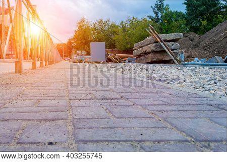 City Sidewalk Under Construction. View From Sidewalk Level.