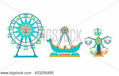 Merry-go-round With Horses As Amusement Or Entertainment Park Attractions Vector Set