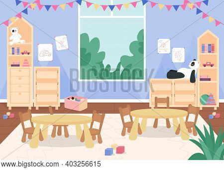 Kindergarten Playroom With Desks And Chair For Kids Flat Color Vector Illustration. Primary Grade Le