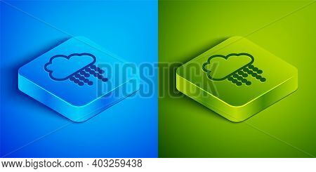 Isometric Line Cloud With Rain Icon Isolated On Blue And Green Background. Rain Cloud Precipitation