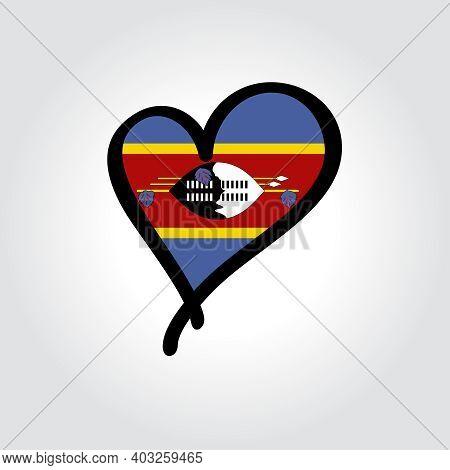 Eswatini Flag Heart-shaped Hand Drawn Logo. Vector Illustration.
