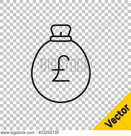Black Line Money Bag With Pound Icon Isolated On Transparent Background. Pound Gbp Currency Symbol.