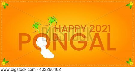 Happy Pongal Religious Festival Of South India Celebration Background.