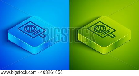 Isometric Line Protest Icon Isolated On Blue And Green Background. Meeting, Protester, Picket, Speec