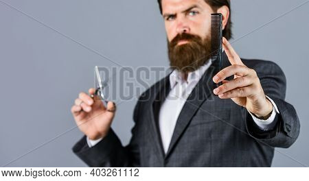 His Perfect Style. Mature Hipster With Beard. Brutal Caucasian Hipster With Moustache. Male Barber C
