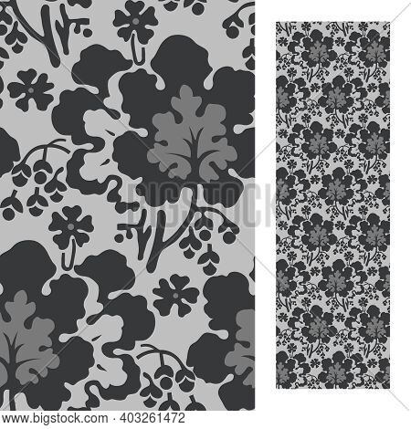 Seamless Floral Pattern (leaves, Flower, Brach) In The Eclectic Style Of The Late 19th Century
