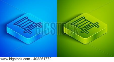 Isometric Line Hive For Bees Icon Isolated On Blue And Green Background. Beehive Symbol. Apiary And
