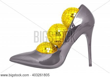 Isolated Female Shoe On A White Background. Fashionable Beauty, Fashion. Colors Of 2021 Bright Yello