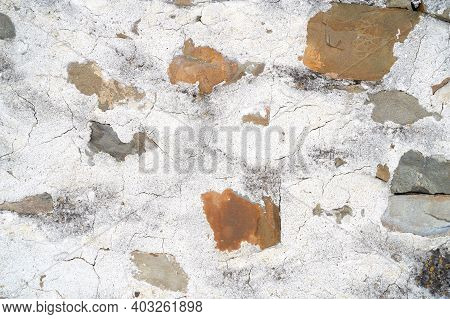 Abstract Old Beton And Stones Texture Wall Outdoor. Textured Grunge Background. High Quality Photo