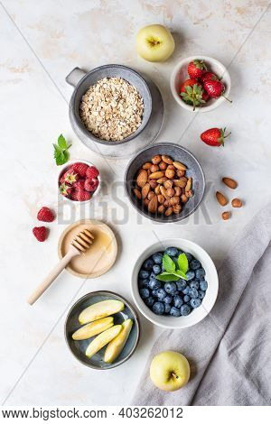 Healthy Diet. Oatmeal. Ingredients For Porridge. Wholesome Breakfast. Delicious Summer Berries. Usef