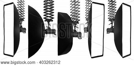 Photography Studio Flash On Ceiling Pantograph With Softbox Isolated On White. Background. 3d Render