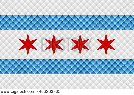 Mosaic Flag Of The Chicago - Illustration,  Three Dimensional Flag Of Chicago