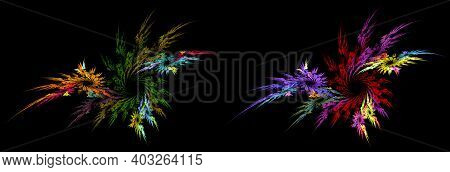 Colorful Wreaths Of Feathers Or Sharp Petals Stacked In A Spiral On A Black Background. Graphic Desi
