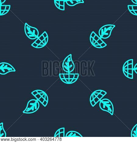 Green Line Earth Globe And Leaf Icon Isolated Seamless Pattern On Blue Background. World Or Earth Si