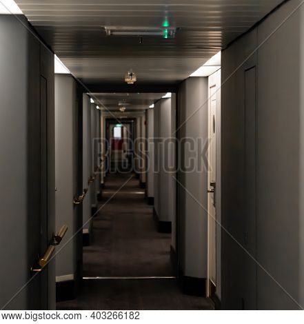 Long Narrow Hallway On A Large Cruise Ship. Blurred Background.